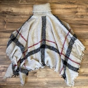 NWOT - Oatmeal Plaid Turtleneck Poncho Sweater
